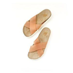 Yes Coral Orange White Crisscross Flatform Sandals